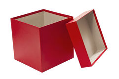 Empty Christmas Red Gift Box With Lid. An empty red gift box with the lid leaning on it isolated on white Stock Photos