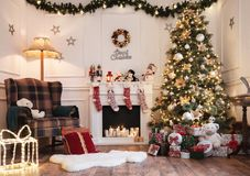 Empty christmas room with copy space stock images