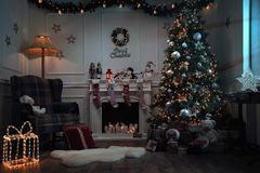 Empty christmas room at night royalty free stock image