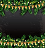 Empty Christmas Template with Fir Branches, Neon Garlands and Fl Royalty Free Stock Photos