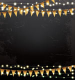 Empty Christmas Template with Neon Garlands and Flags. Royalty Free Stock Photography