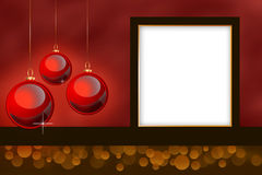Empty Christmas themed photo frame. Royalty Free Stock Photos