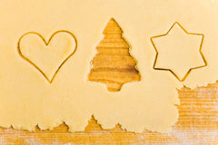 Empty christmas tree shape in dough Stock Images