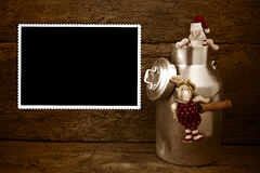 Empty Christmas vintage  photo frame card Royalty Free Stock Images