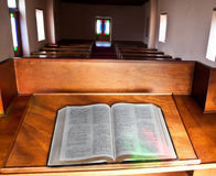 Empty church with lead glass doors Royalty Free Stock Photography
