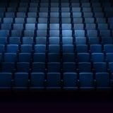 Empty cinema auditorium. With blue seats royalty free illustration
