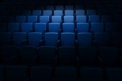 Empty cinema auditorium. Empty blue cinema rows in auditorium vector illustration
