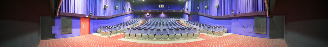 Empty cinema auditorium, panorama photo Stock Image