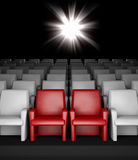 Empty cinema hall with auditorium reserved seats. 3d empty cinema hall with auditorium and two reserved seat Stock Photography