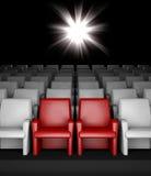 Empty cinema hall with auditorium reserved seats. 3d empty cinema hall with auditorium and two reserved seat stock illustration