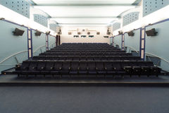 Empty cinema hall, view from the screen. Royalty Free Stock Image