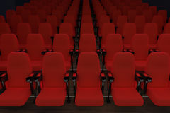 Empty cinema with red seats Stock Images