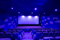 Empty cinema screen with audience,black area for desingers Stock Photography