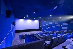 Empty cinema screen with audience,black area for desingers Royalty Free Stock Image