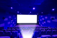 Empty cinema screen with audience,black area for desingers Royalty Free Stock Photo