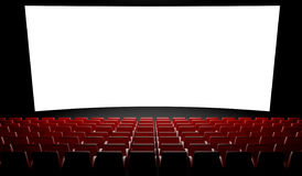 Empty cinema screen with auditorium Stock Photos
