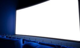 Empty cinema screen with blue seats. 3d render. Empty cinema screen with blue seats. Ready for adding your for advertisement. Wide Royalty Free Stock Photography