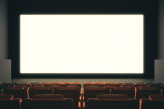 Empty cinema screen. Large empty cinema screen witn rows of seats. Mock up, 3D Rendering Stock Images