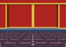 Empty cinema theater closed curtains Royalty Free Stock Image
