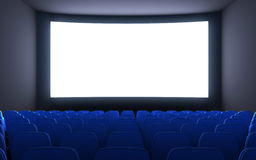 Empty cinema and white screen Royalty Free Stock Image