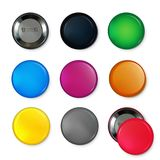 Empty circle badges or buttons at different colors. Vector illustrations Stock Photo