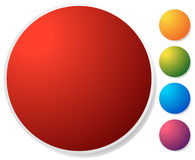 Empty circle button, icon background in 5 vibrant colors. Generi Stock Image