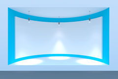 Empty circle storefront or podium with lighting and a big window Royalty Free Stock Photo