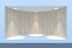 Empty circle storefront or podium with lighting and a big window Royalty Free Stock Images
