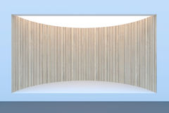 Empty circle storefront or podium with lighting and a big window Royalty Free Stock Photos