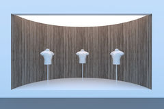 Empty circle storefront or podium with lighting and a big window Stock Images