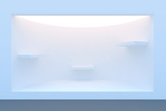 Empty circle storefront or podium with lighting and a big window Royalty Free Stock Image