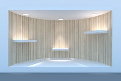 Empty circle storefront or podium with lighting and a big window Stock Photos