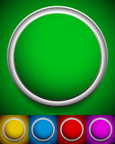 Empty circles in various colors: Green, yellow, blue, red and pu Stock Images
