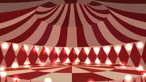 Empty circus 3d scene with lights Royalty Free Stock Photo