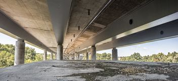 Empty concrete bridge construction panorama. Empty city bridge construction industrial scene, panorama view stock photos