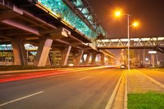 City road surface floor with viaduct bridge Royalty Free Stock Image