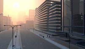 Empty city street Royalty Free Stock Photo