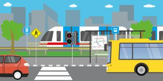 Empty city street,road with different public transport vector illustration