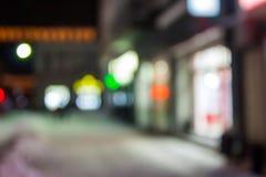 Empty city street in winter eve bokeh Stock Image