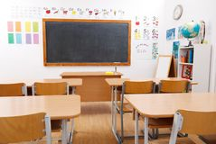 Empty class room. Of elementary school Stock Image