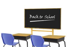 Empty class room. With back to school writing on blackboard Stock Photo