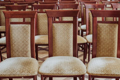 Empty class room, close up on chair, vintage effect Stock Photo