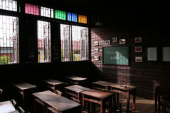 Empty class room. Old wood class room in Supanburi Thailand Royalty Free Stock Photos