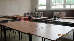 Empty Class Room. With tables and chairs Royalty Free Stock Image