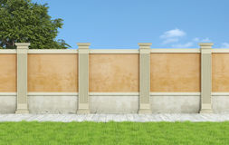 Empty classic  garden. Empty classic garden with orange wall and pilaster and wooden floor - 3D Rendering Royalty Free Stock Images