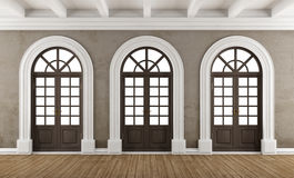Empty classic interior with balcony windows Royalty Free Stock Image