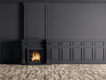 Empty classic interior of a room with fireplace over black wall. Interior of empty classic room with fireplace over black panels wall 3d rendering Royalty Free Stock Image