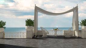 Empty classic terrace with canopy relax area, armchairs and table for breakfast, panoramic sea ocean vector illustration