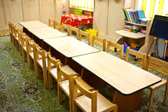 Empty classroom. Empty kindergarten classroom with desk and table Royalty Free Stock Image