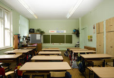 Empty classroom. Classroom is waiting new pupils Royalty Free Stock Photography